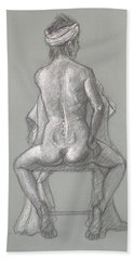 Hand Towel featuring the drawing Rose Seated From The Back by Donelli  DiMaria