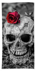 Rose Skull Hand Towel by Martina Fagan