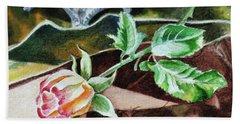 Rose Still Life Watercolor Realism  Bath Towel
