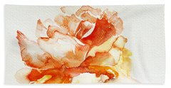 Bath Towel featuring the painting Rose Yellow by Jasna Dragun