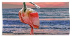 Hand Towel featuring the photograph Roseate Spoonbill At Sundown  by Brian Tarr
