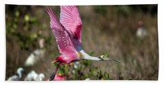 Roseate Spoonbill Flying Bath Towel