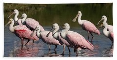 Roseate Spoonbills Bath Towel by Sally Weigand