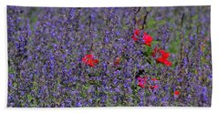 Roses Afloat In A Lavender Sea Bath Towel by Tim Good