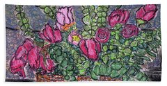 Roses And Eucalyptus In Basket Hand Towel