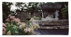 Flowers And A Fountain Bath Towel