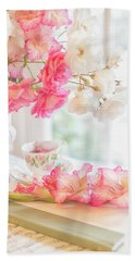 Roses And Gladiolus In Morning Light Bath Towel