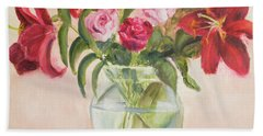 Roses And Lilies Hand Towel