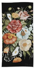 Roses And Poppies Bouquet Hand Towel