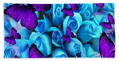 Roses And Purple Butterflies Hand Towel