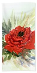 Hand Towel featuring the painting Roses Are Red by Dorothy Maier