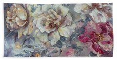 Hand Towel featuring the painting Roses From A Friend by Ryn Shell