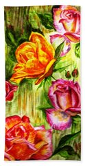 Bath Towel featuring the painting Roses In The Valley  by Harsh Malik