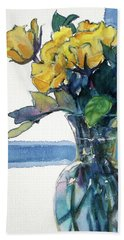 Roses In Vase Still Life I Hand Towel by Kathy Braud