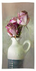 Roses In Vinegar Bottle Bath Towel