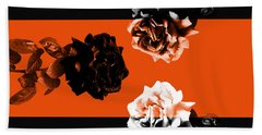Roses Interact With Orange Bath Towel