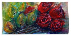 Hand Towel featuring the painting Roses by Jasna Dragun