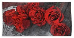 Hand Towel featuring the photograph Roses On Lace by Bonnie Willis