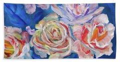 Roses, Roses On Blue Bath Towel