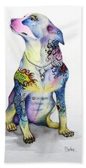 Bath Towel featuring the painting Rottweiler Rebel by Patricia Lintner
