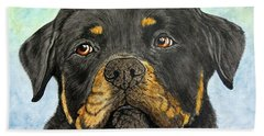 Rottweiler's Sweet Face 2 Bath Towel by Megan Cohen