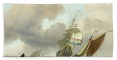 Rough Sea With Ships Hand Towel