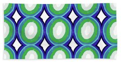 Round And Round Blue And Green- Art By Linda Woods Bath Towel