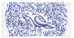 Round Bird January 17 Bath Towel by Donna Huntriss