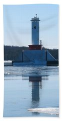 Round Island Passage Light In Winter Hand Towel