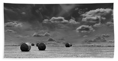 Round Straw Bales Landscape Hand Towel by John Williams