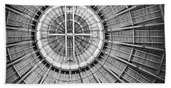 Roundhouse Architecture - Black And White Bath Towel by Joseph Skompski