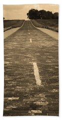 Hand Towel featuring the photograph Route 66 - Brick Highway 2 Sepia by Frank Romeo