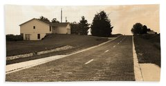 Bath Towel featuring the photograph Route 66 - Brick Highway Sepia by Frank Romeo