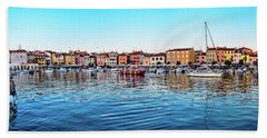Rovinj Harbor And Boats Panorama Bath Towel