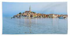 Rovinj In The Early Morning Fog, Istria, Croatia Bath Towel