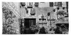 Rovinj Old Town Courtyard In Black And White, Rovinj Croatia Hand Towel