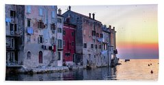 Rovinj Old Town On The Adriatic At Sunset Bath Towel