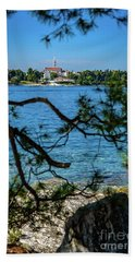 Rovinj Seaside Through The Adriatic Trees, Istria, Croatia Bath Towel