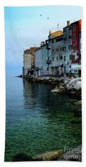 Rovinj Venetian Buildings And Adriatic Sea, Istria, Croatia Hand Towel