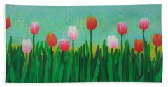 Row Of Tulips Bath Towel