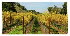 Rows Of Grapevines In Napa Valley California Bath Towel