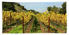 Rows Of Grapevines In Napa Valley California Hand Towel