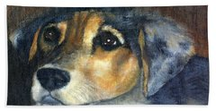 Hand Towel featuring the painting Roxie by Gail Kirtz
