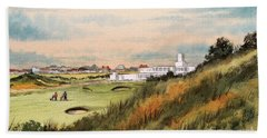 Hand Towel featuring the painting Royal Birkdale Golf Course 18th Hole by Bill Holkham