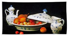 Bath Towel featuring the photograph Royal Copenhagen And Fruits by Elf Evans