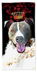 Royal Love Pup, Pit Bull Terrier, Crown Of Hearts Hand Towel