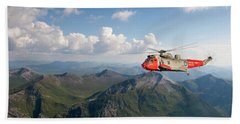 Hand Towel featuring the digital art Royal Navy Sar Sea King by Pat Speirs