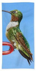 Hand Towel featuring the painting Ruby Throat Hummingbird  by Phyllis Beiser