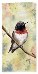 Ruby Throated Hummingbird Bath Towel by Sam Sidders
