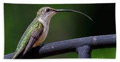 Ruby-throated Hummingbird Tongue Bath Towel by Ronda Ryan